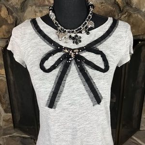 Loft | Gray Top with Sequins and Black Bow